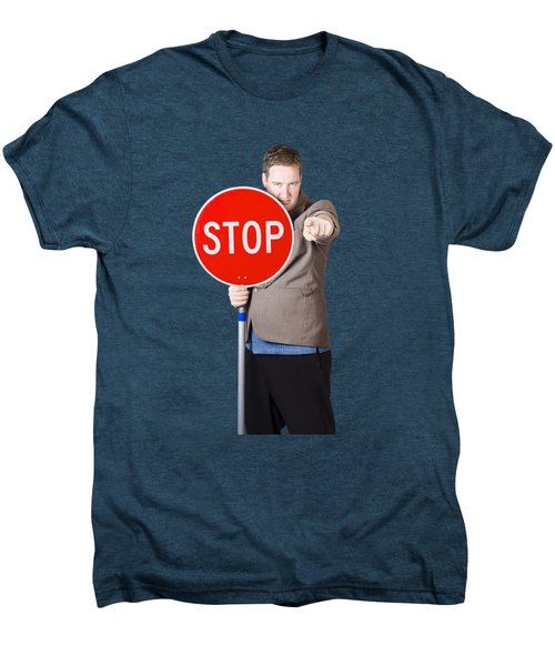 Isolated Man Holding Red Traffic Stop Sign Men's Premium T-Shirt by Jorgo Photography - Wall Art Gallery