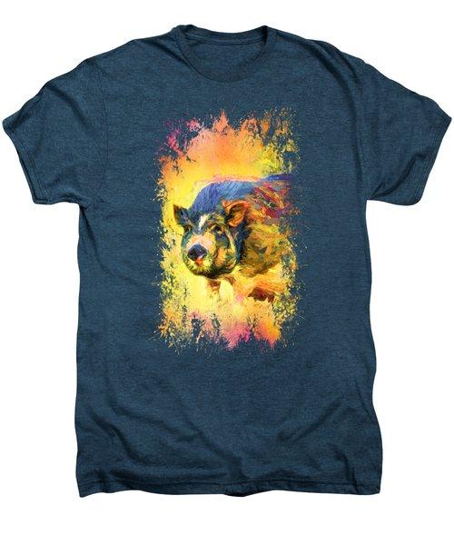 Jazzy Pig Colorful Animal Art By Jai Johnson Men's Premium T-Shirt by Jai Johnson