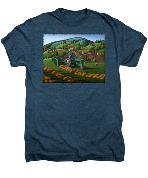 John Deere Tractor Baling Hay Farm Folk Art Landscape - Vintage - Americana Decor -  Painting Men's Premium T-Shirt