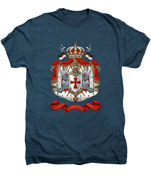 Knights Templar - Coat Of Arms Over Red Velvet Men's Premium T-Shirt