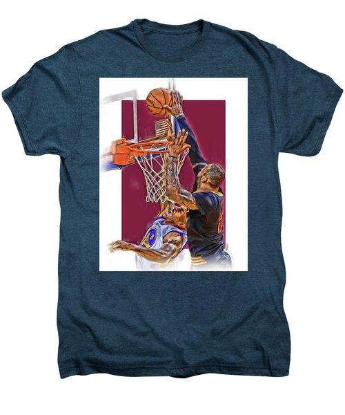 Lebron James Cleveland Cavaliers Oil Art Men's Premium T-Shirt by Joe Hamilton