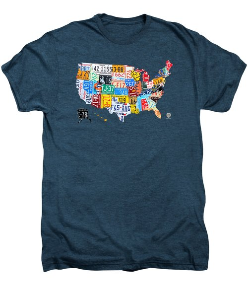 License Plate Art Map Of The United States On Yellow Board Men's Premium T-Shirt by Design Turnpike