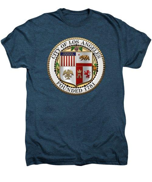 Los Angeles City Seal Over Red Velvet Men's Premium T-Shirt by Serge Averbukh