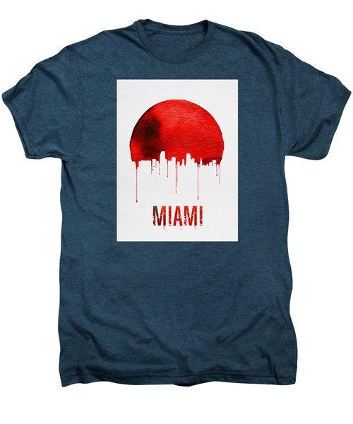 Miami Skyline Red Men's Premium T-Shirt by Naxart Studio