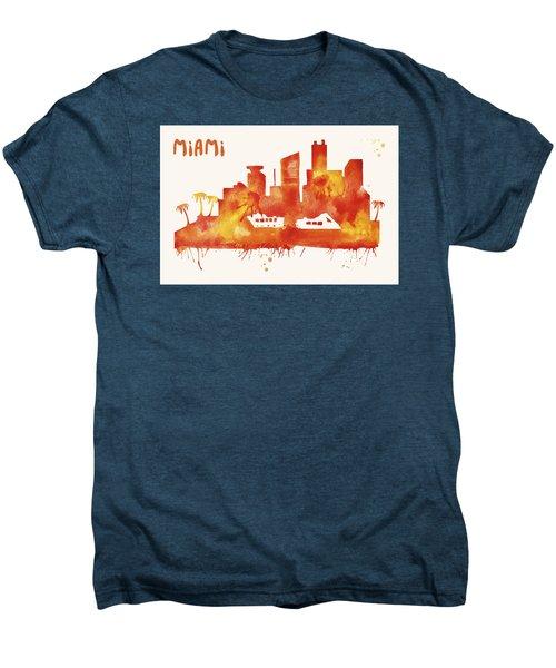 Miami Skyline Watercolor Poster - Cityscape Painting Artwork Men's Premium T-Shirt