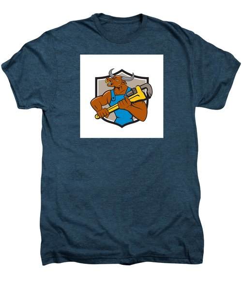 Minotaur Bull Plumber Wrench Crest Cartoon Men's Premium T-Shirt by Aloysius Patrimonio