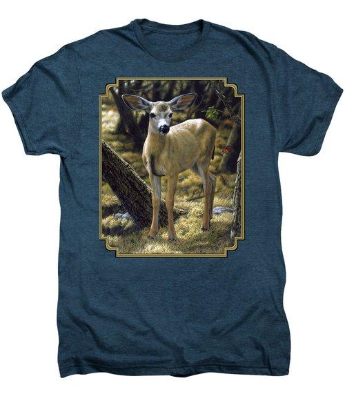 Mule Deer Fawn - Monarch Moment Men's Premium T-Shirt by Crista Forest