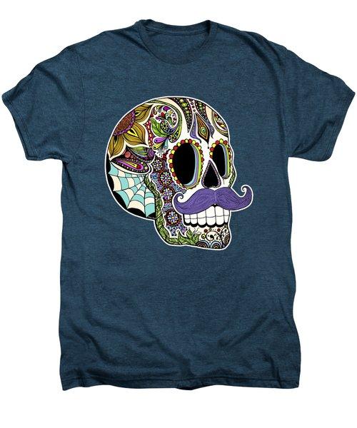 Mustache Sugar Skull Men's Premium T-Shirt by Tammy Wetzel