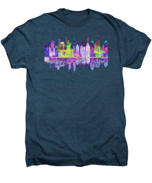 New York Skyline Glowing Men's Premium T-Shirt by John Groves