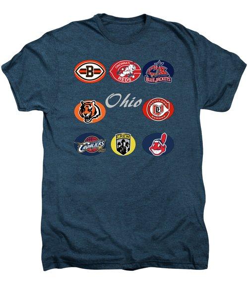 Ohio Professional Sport Teams Collage Men's Premium T-Shirt by Movie Poster Prints