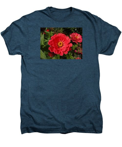 Men's Premium T-Shirt featuring the photograph Orange Red Zinnia by Rod Ismay
