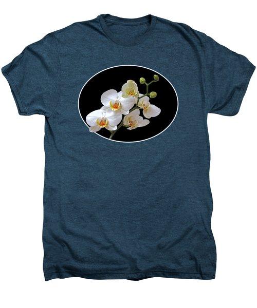 Orchids On Black And Orange Men's Premium T-Shirt by Gill Billington
