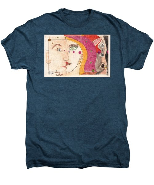 Men's Premium T-Shirt featuring the drawing Paranoia by Rod Ismay