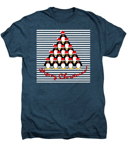 Penguin Christmas Tree N Stripes Men's Premium T-Shirt