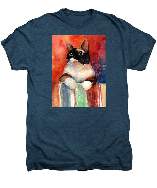 Pensive Calico Tubby Cat Watercolor Painting Men's Premium T-Shirt by Svetlana Novikova