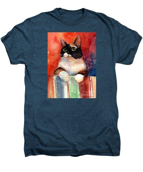 Pensive Calico Tubby Cat Watercolor Painting Men's Premium T-Shirt