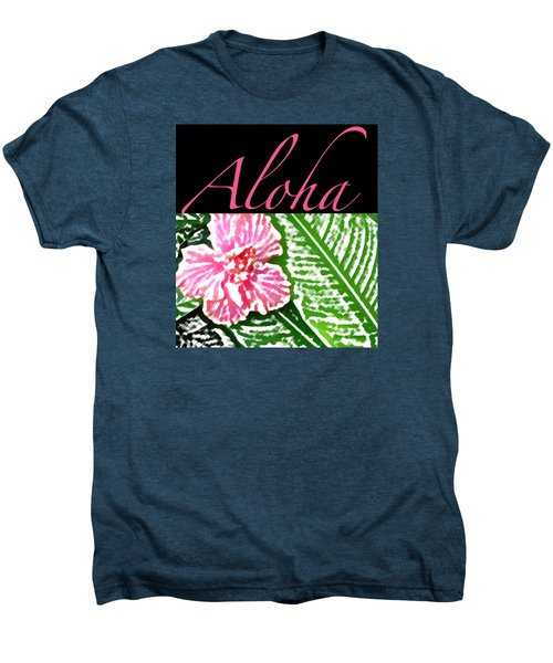 Pink Hibiscus Aloha Men's Premium T-Shirt by James Temple