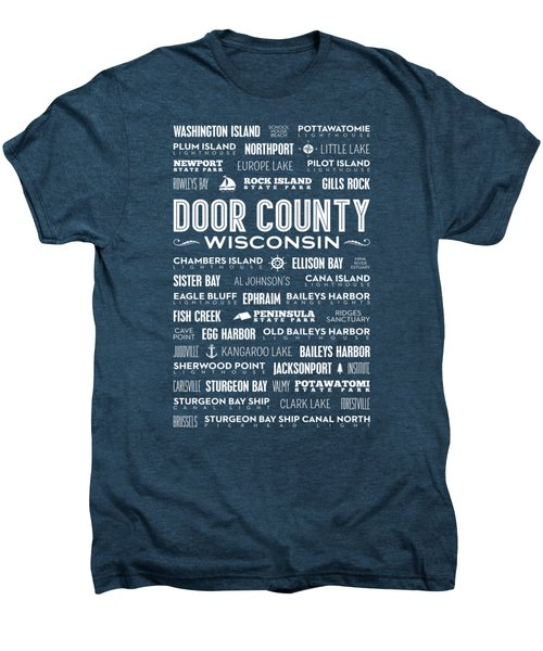 Men's Premium T-Shirt featuring the digital art Places Of Door County On Red by Christopher Arndt