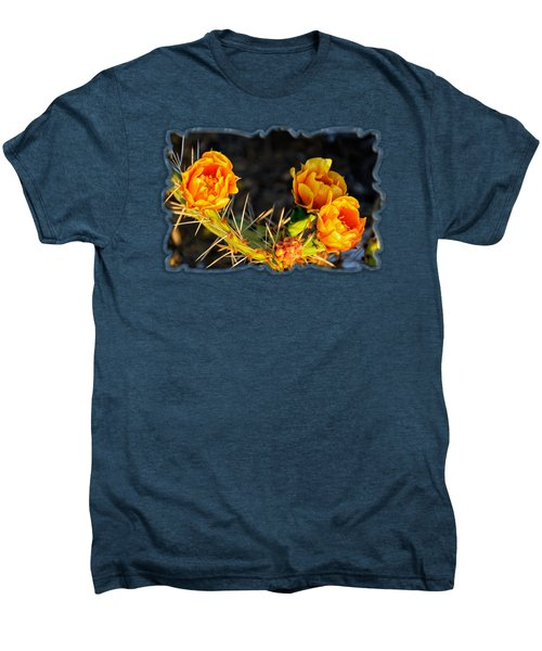 Prickly Pear Flowers Op49 Men's Premium T-Shirt by Mark Myhaver
