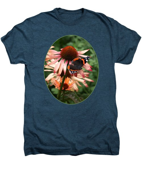 Red Admiral On Coneflower Men's Premium T-Shirt by Gill Billington