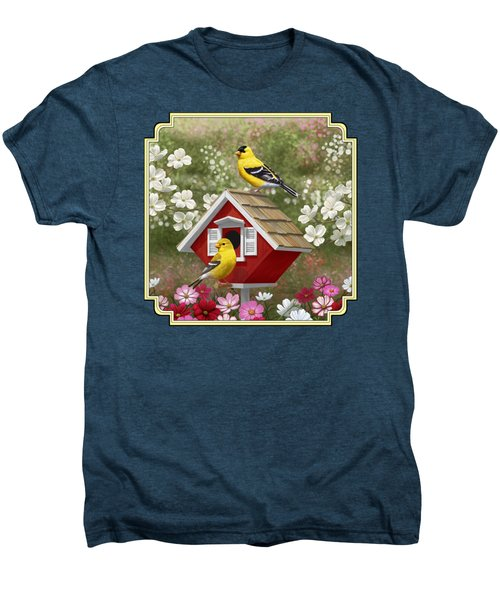 Red Birdhouse And Goldfinches Men's Premium T-Shirt by Crista Forest