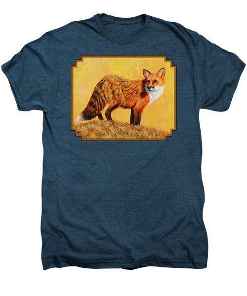 Red Fox Painting - Looking Back Men's Premium T-Shirt by Crista Forest