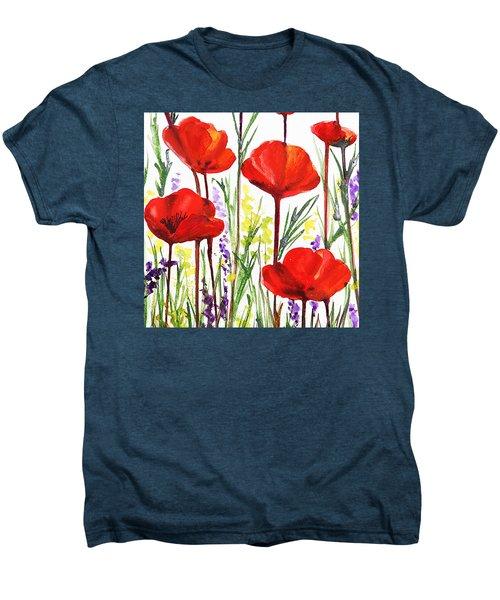 Men's Premium T-Shirt featuring the painting Red Poppies Watercolor By Irina Sztukowski by Irina Sztukowski