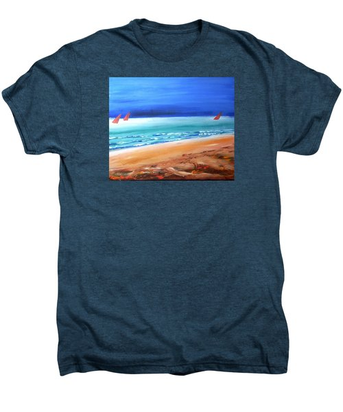 Men's Premium T-Shirt featuring the painting Red Sails by Winsome Gunning