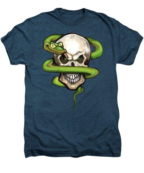 Serpent Evil Skull Men's Premium T-Shirt by Kevin Middleton
