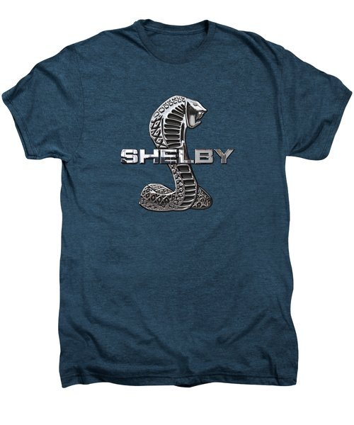 Shelby Cobra - 3d Badge On Red Men's Premium T-Shirt by Serge Averbukh