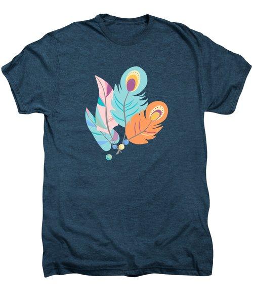 Stylized Peacock Feather Design Men's Premium T-Shirt