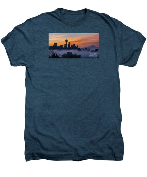 Sunrise Seattle Skyline Above The Fog Men's Premium T-Shirt by Mike Reid
