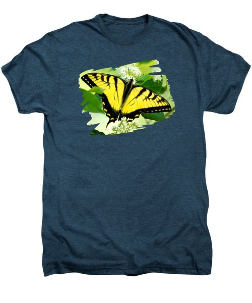 Swallowtail Butterfly Feeding On Flowers Men's Premium T-Shirt by Christina Rollo