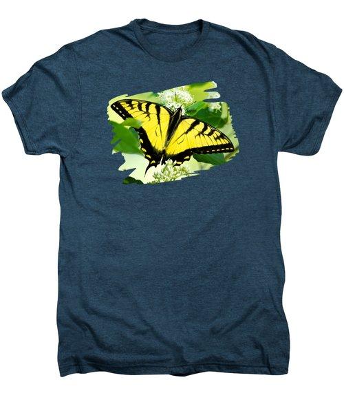 Swallowtail Butterfly Feeding On Flowers Men's Premium T-Shirt