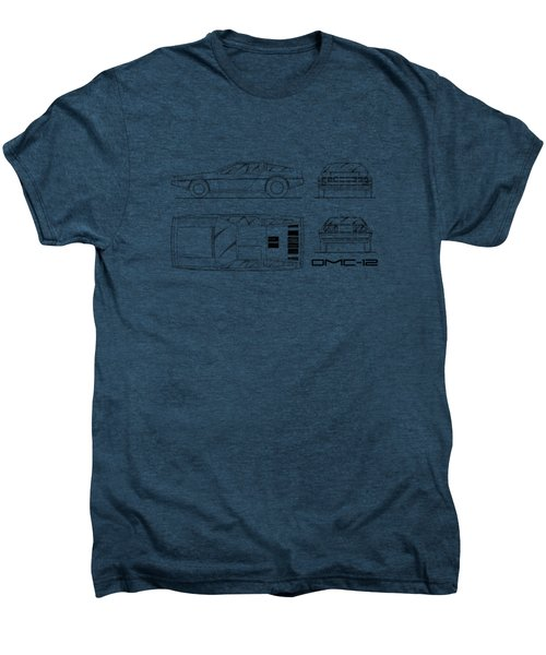 The Delorean Dmc-12 Blueprint - White Men's Premium T-Shirt by Mark Rogan