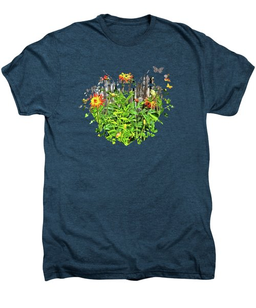 The Flowers Along The Fence  Men's Premium T-Shirt by Thom Zehrfeld