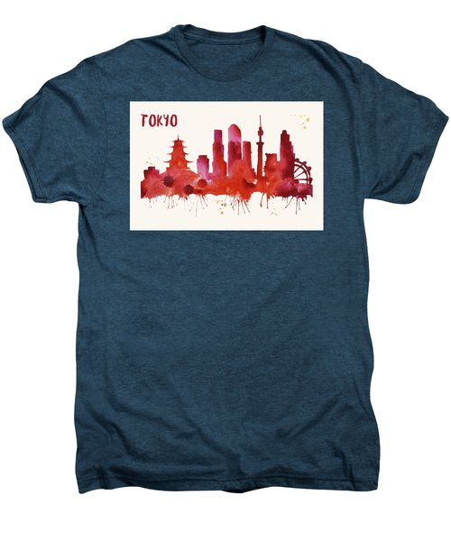 Tokyo Skyline Watercolor Poster - Cityscape Painting Artwork Men's Premium T-Shirt