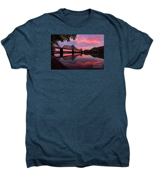 Train Bridge At Sunrise  Men's Premium T-Shirt