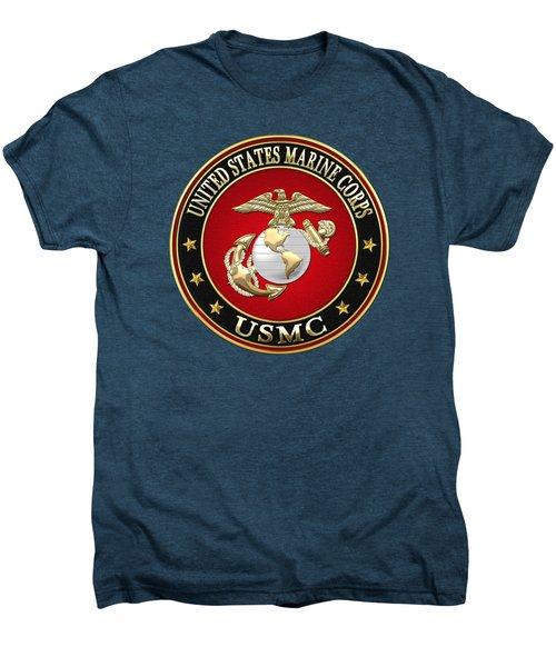 U S M C Eagle Globe And Anchor - E G A On Red Velvet Men's Premium T-Shirt