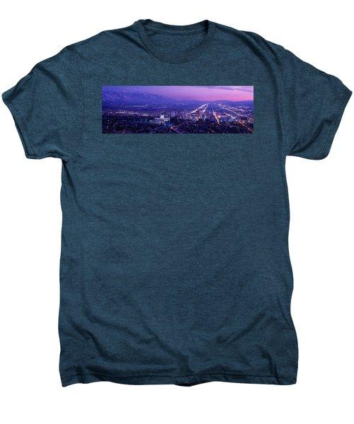 Usa, Utah, Salt Lake City, Aerial, Night Men's Premium T-Shirt
