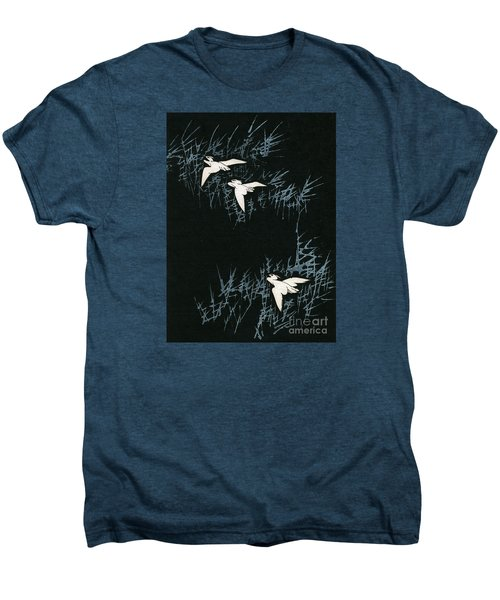 Vintage Japanese Illustration Of Three Cranes Flying In A Night Landscape Men's Premium T-Shirt