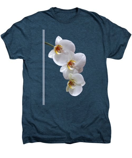 White Orchids On Terracotta Vdertical Men's Premium T-Shirt