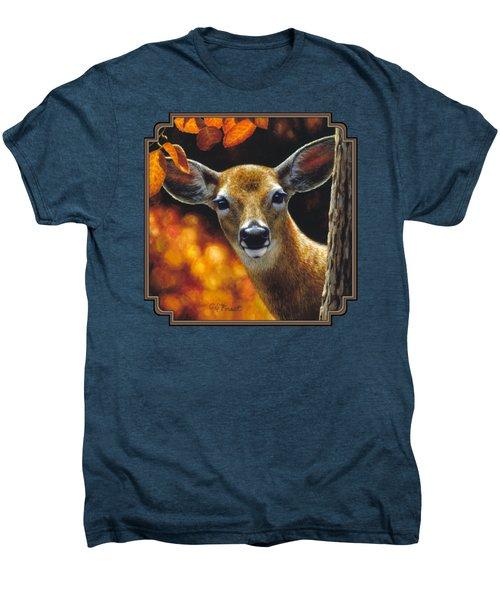 Whitetail Deer - Surprise Men's Premium T-Shirt by Crista Forest