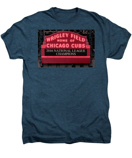 Wrigley Field Marquee Cubs Champs 2016 Front Men's Premium T-Shirt by Steve Gadomski