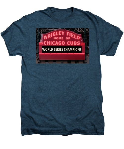 Wrigley Field Marquee Cubs World Series Champs 2016 Front Men's Premium T-Shirt by Steve Gadomski