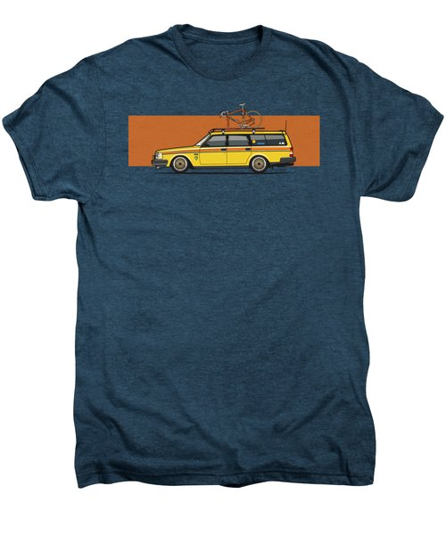 Yellow Volvo 245 Wagon With Roof Rack And Vintage Bicycle Men's Premium T-Shirt