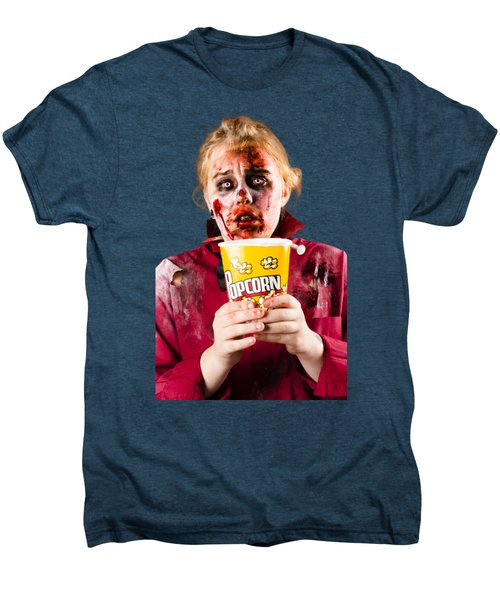 Zombie Woman Watching Scary Movie With Popcorn Men's Premium T-Shirt by Jorgo Photography - Wall Art Gallery
