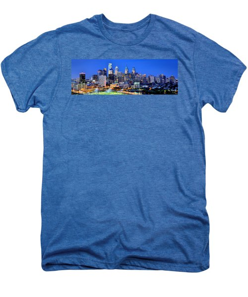 Philadelphia Skyline At Night Evening Panorama Men's Premium T-Shirt