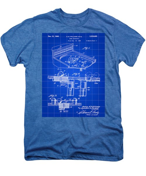 Pinball Machine Patent 1939 - Blue Men's Premium T-Shirt by Stephen Younts