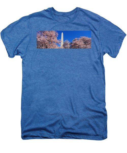 Cherry Blossoms Washington Monument Men's Premium T-Shirt by Panoramic Images